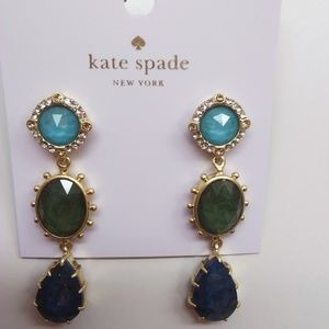 Kate Spade New Small Blue/Green Linear Earrings
